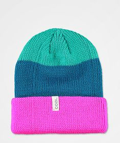 Add some bright colors into that boring old headwear collection with the Frena magenta stripe beanie from Coal! This beanie features a striped construction of magenta, navy and teal for a striking, vivid look. The versatile design allows you to wear it either slouched or cuffed, so you'll always find the right look for your outfit.