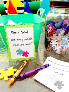 Awesome Puzzle Party Ideas - Guess the Number of Puzzle Pieces in the Jar Adoption Baby Shower, Adoption Party, Diy Party, Party Gifts, Party Ideas, Gift Ideas, Birthday Games, Birthday Party Themes