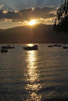 The sun is setting on Osoyoos Lake