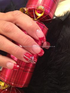 Christmas parcel freehand nail art