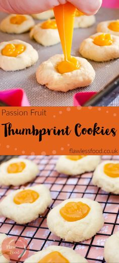 Cute cookies filled with the tropical flavour's of Passion Fruit are sure to give you a Spring buzz. Easy to make, mini Passion Fruit Thumbprint Cookies. Easy No Bake Desserts, Köstliche Desserts, Delicious Desserts, Dessert Recipes, Strawberry Desserts, Baking Recipes, Cookie Recipes, Scone Recipes, Bar Recipes