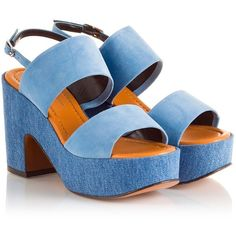 Robert Clergerie - EMPLE Blue suede and denim high block heel... ($485) ❤ liked on Polyvore featuring shoes, sandals, blue, chunky block heel sandals, slingback sandals, blue suede shoes, thick heel sandals and blue shoes