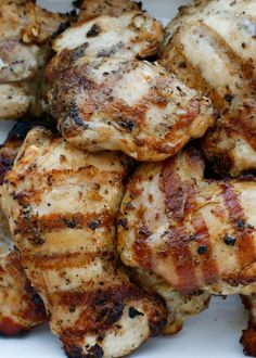 Juicy grilled chicken loaded with flavor from a Beer and Garlic Marinade - get the recipe at barefeetinthekitchen.com