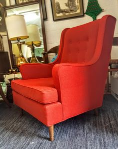 Mid Century Chair Beautiful Original Red Fabric Spindly Exposed Legs High Back by gremlina on Etsy