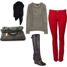 Fall..love red jeans