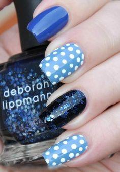 Blue Mix Nails