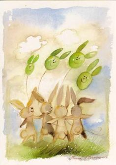 postikortti, vaihtoehto Baba, Bunnies, Painting, Watercolor Painting, Painting Art, Paintings, Baby Bunnies, Painted Canvas, Rabbits