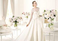 MONET - Vestido de novia de raso y manga larga. Pronovias 2015   Pronovias