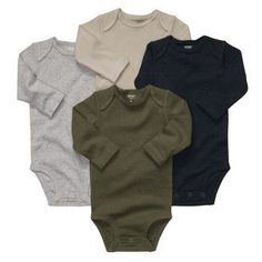 My VERY FAVORITE baby clothing item. These onesies are so soft, they stretch out great around the neck area so they are easy to put on over babys head, the snaps are in the front so easy to access, plus they are super cute.