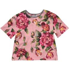 Dolce & Gabbana Cotton floral t-shirt ($179) ❤ liked on Polyvore featuring tops, t-shirts, pink, short sleeve tee, red floral top, floral print tee, pink floral top and cotton t shirts