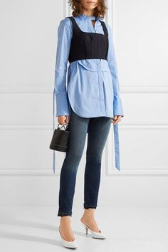 3x1 - W3 Distressed High-rise Slim-leg Jeans - Dark denim - 29