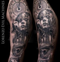 Realistic Black and Gray Portrait Tattoo - Eye - Watch - Woman - Gothic - Tattoo by Lorenzo Evil Machines Tattoo - Roma - Italia