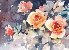 Roses Original Watercolor Painting Flowers by CMwatercolors