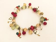 Rooster Beaded Bracelet Whimsical Vintage Jewelry