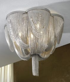 Contemporary Fine Metal Bag & Tail Flush Chandeliers - Two Sizes Flush Lighting, Shop Lighting, Pendant Lighting, Outdoor Lighting, Hanging Ceiling Lights, Metallic Bag, Led, Metal Chain, Light Decorations