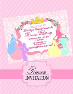 PRINCESS Invitation / Disney Princess Inspired Collection - Girls Birthday -Princess Party - Bridal Shower - Krown Kreations on Etsy, $10.00