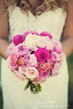 I love the types of flowers in this bouquet and the shape. The hues aren't quite right - I'd prefer more coral than hot pink