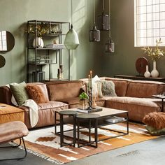 Lifestyle home decoration living room inspiration Verona sofa Brown And Green Living Room, Living Room White, Living Room Colors, New Living Room, Small Living Rooms, Living Room Sofa, Living Room Designs, Living Room Storage, Living Room Inspiration