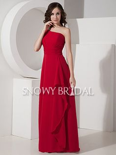 Dark Red Long Chiffon One Shoulder A-Line With Straps Bridesmaid Dress - US$ 84.59 - Style B1150 - Snowy Bridal