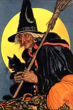 The stereotyped look of a pointed hat, black cat, and broomstick can seem annoying at times, but it has a lovely Autumn-like feel in this piece of art.