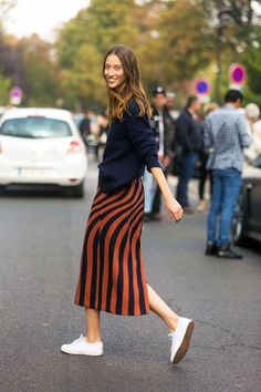 Paris Streetstyle 2014 Stripe Jacquard Knit Skirt