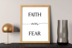 Faith over fear   Christian Wall Art & Christian Wall Decor   Boost your faith through religious art with inspirational, motivational quotes by SmallMiraclePrints on Etsy