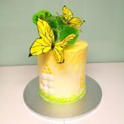 Yellow Butterfly cake - cake by Larissa Ubartas Butterfly Cookies, Butterfly Party, Yellow Birthday Cakes, Fall Birthday Parties, Birthday Stuff, Fondant Cookies, Cupcakes, Cake Decorating Techniques, Floral Cake