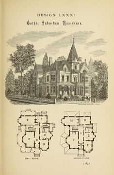 Hobbs's architecture: containing designs and ground plans for villas, cottages and other edifices, both suburban and rural, adapted to the United States. With rules for criticism, and introduction Victorian House Plans, Vintage House Plans, Victorian Life, Gothic House, Victorian Gothic, Victorian Homes, Victorian Decor, Architecture Drawings, Architecture Plan