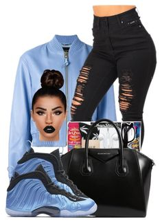 """""""foam posite"""" by ballislife ❤ liked on Polyvore featuring V2 by Versace, Givenchy, NIKE and Lime Crime"""