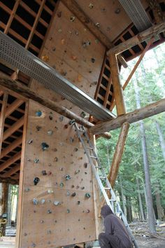 Barn rock climbing wall