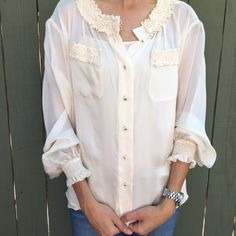 CHANEL ivory sheer ruffle blouse! Authentic Chanel ivory sheer ruffle trim blouse. Has crazy 90's shoulder pads that can be taken out. Great condition. Chest 21.5 in. Length 25.5 in. Sleeve length 25 in. Shoulder to shoulder 17.5 in. Size large but please see measurements for sizing accuracy. Bundle and save! CHANEL Tops Blouses