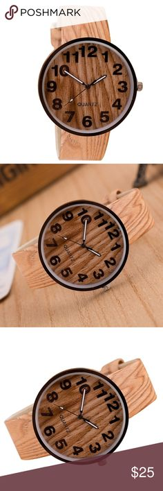 Wood Grain Leather Quartz Watch Men's & Women's Unisex Wood Grain Quartz Watch Feature: 100% brand new and high quality Colour: Khaki Life Waterproof(not soak in water) Movement: Quartz Watch Strap Material: PU Case Material:Metal Case Size: 39mm x 39mm Case Thickness: 9mm Band Width: 20mm Band Length: 23.8cm Accessories Watches