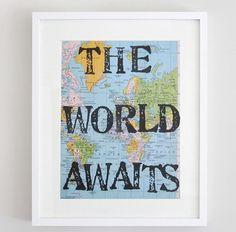 The World Awaits, Travel Theme Nursery, Vintage Map Unique Print, Handmade, Travel Theme, Nursery Art, Map Print on Etsy, $14.50