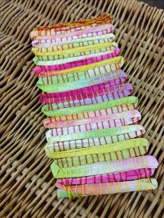 Weaving with pretty paper.