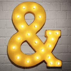 "Custom 21"" Yellow Ampersand Vintage Marquee Sign"
