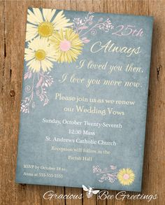 Vow Renewal Invitation  Digital Printable by GraciousBeeGreetings, $14.00