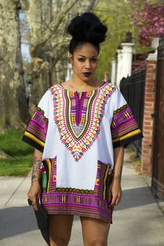 Unisex Dashiki White Pink Green Yellow by tribalgroove on Etsy
