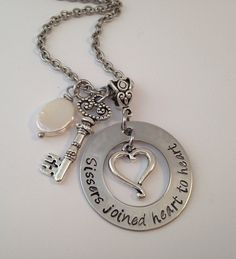 Personalized Hand Stamped  Necklace with Key heart by 3littlegems, $42.00