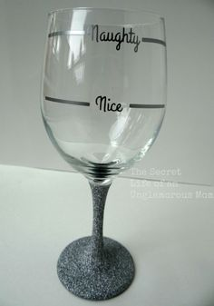 Naughty or Nice Holiday Glitter Wine Glass on Etsy, $10.00