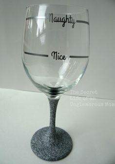 Naughty or Nice Holiday Glitter Wine Glass