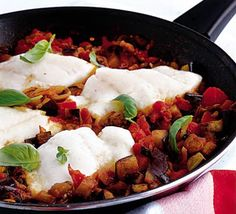 Haddock in Tomato-Basil Sauce ~ 50 mins ~ Per serving:  212 calories, protein 36g, carbohydrate 8g, fat 4 g, saturated fat 1g, fibre 3g, sugar 1g, salt 0.5 g