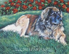 "A Leonberger dog art portrait print of an LA Shepard painting 11x14"". Here's a wonderful tribute to your best friend and favorite breed- the Leonberger ! from an original painting by L.A.Shepard, whose unique, beautiful work has been collected around the world. Your print will be individually signed under the image by the artist, and initialed on the image. Copyright text is for display purposes only and will not appear on your artwork. The image is 11x14 inches and is printed on 13x19""…"