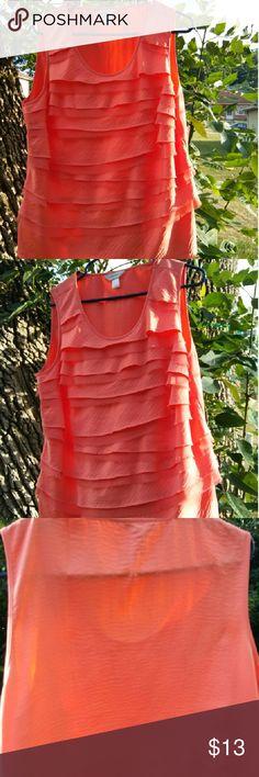 Pretty Ruffed blouse by cj banks Light peach. Layered. 100% polyester. EUC. CJ Banks size X (14w) cj banks Tops Blouses