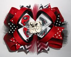 Go Dawgs Bulldogs Cap Hair Bow Bulldogs Barrette Clip Ribbon Accessories Red New Clothing, Shoes & Accessories Kids' Clothing, Shoes & Accs