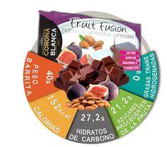 Información nutricional barritas de almendras e higos cubiertas de chocolate.