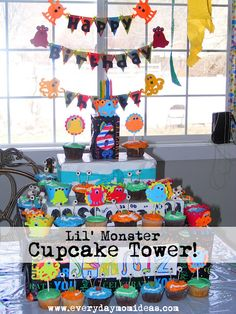 DIY Boy's Cupcake Tower, little monster party themed.