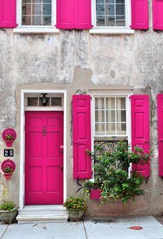 Front Doors : Cool Bright Green Front Door 122 Bright Yellow Front Doors A Pink Door Impressive Bright Green Front Door. Lime Green Front Door Meaning. Best Lime Green Paint Color For Front Door. The Doors, Windows And Doors, Front Doors, Sash Windows, Front Door Colors, Front Porch, Sweet Home, Pink Houses, Dream Houses