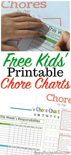Chore charts for kids with printable chore charts  teaching kids   parenting tips   responsibility charts