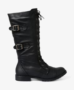 Buckled Combat Boots in black