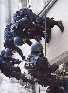 FSB Alfa Group members breach a building from a window.